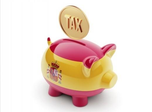Spain Tax Concept Piggy Concept
