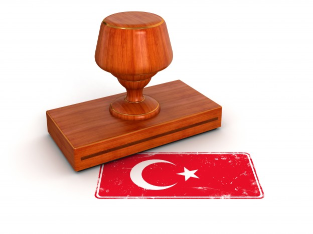 Rubber Stamp Turkish flag (clipping path included)