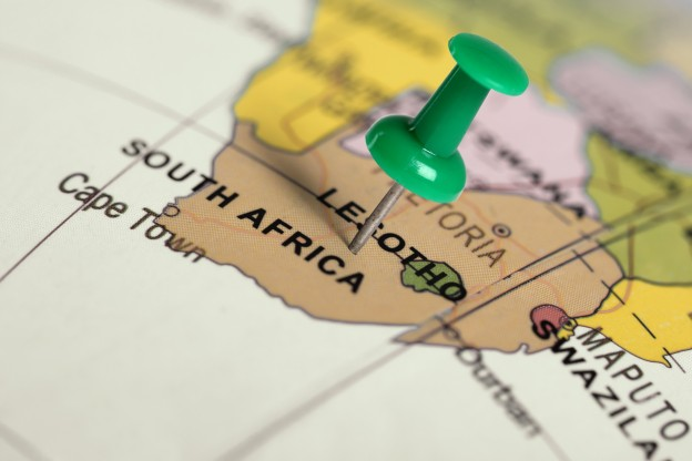 Location South Africa. Green pin on the map.